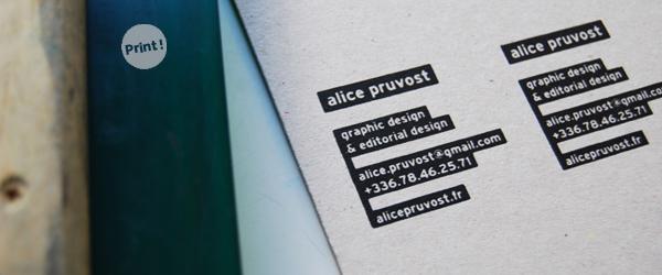 Cartes De Visite Srigraphie Alice Pruvost
